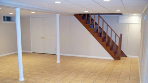 A complete finished basement system in a Haverford home