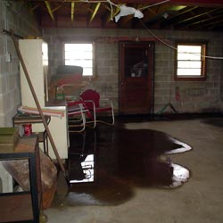 A flooded basement showing groundwater intrusion in Philadelphia