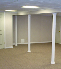 Smartpost column wrap on a basement in Upper Darby