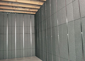 SilverGlo™ insulation and metal studs making up our Basement to Beautiful™ panels.  Installed in Upper Darby.