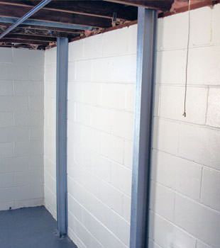 A PowerBrace™ i-beam foundation wall repair system in Philadelphia