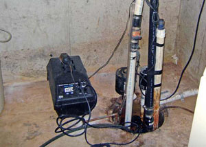 Pedestal sump pump system installed in a home in Elkton