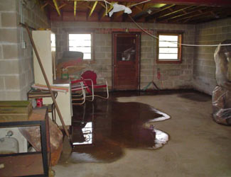 a flooded basement floor in a Phoenix home