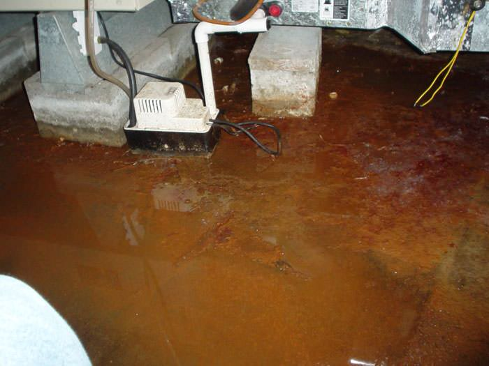 flooded with iron ochre and iron bacteria flooding a basement floor
