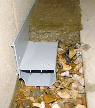 A basement drain system installed in a Lancaster home
